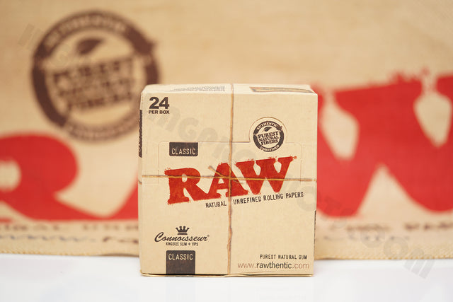 1x Full Box 24 Packs(32 leaves And 32 Tips Per Pack) Of AUTHENTIC Raw Classic Connoisseur King Size Slim Rolling Paper