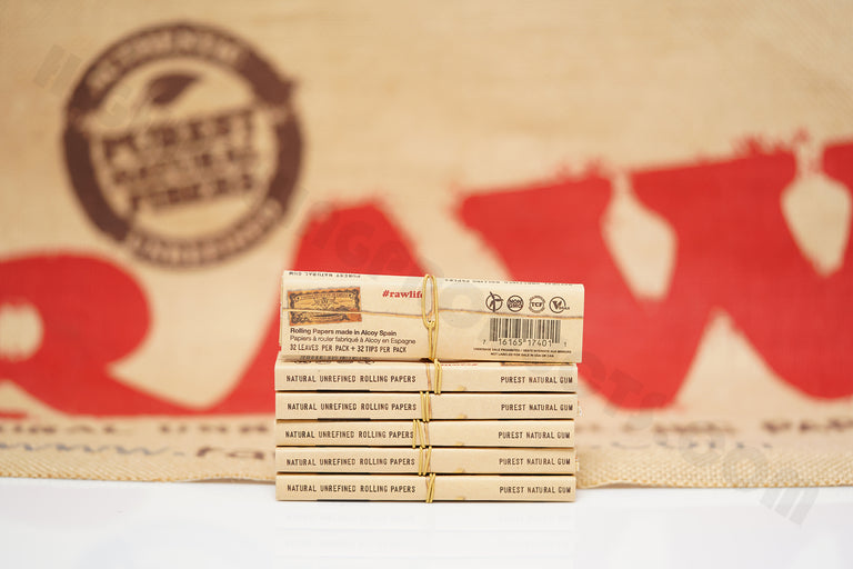 6 Packs(32 leaves And 32 Tips Per Pack) Of AUTHENTIC Raw Classic Connoisseur King Size Slim Rolling Paper