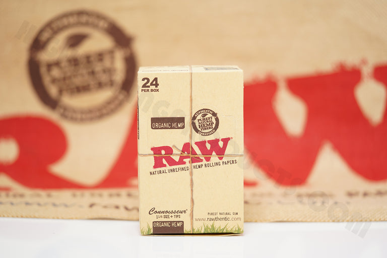 1x Full Box 24 Packs(50 Leaves And 50 Tips Per Pack) Of AUTHENTIC Raw Organic Connoisseur 1 1/4 Size Rolling Paper