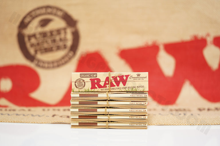 Full Box 24 Packs(32 Leaves And 32 Tips Per Pack) Of AUTHENTIC Raw Organic Connoisseur King Size Rolling Paper