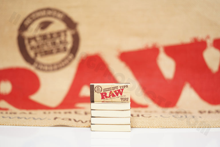 Full Box 50 Packs(50 Tips Per Pack) Of Raw Rolling Paper Perforated Wide Tips