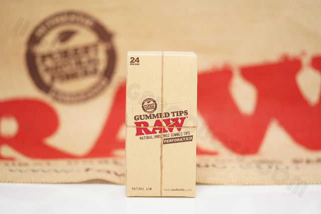 Full Box 24 Packs(33 Tips Per Pack) Of Raw Rolling Paper Gummed-Perforated Tips