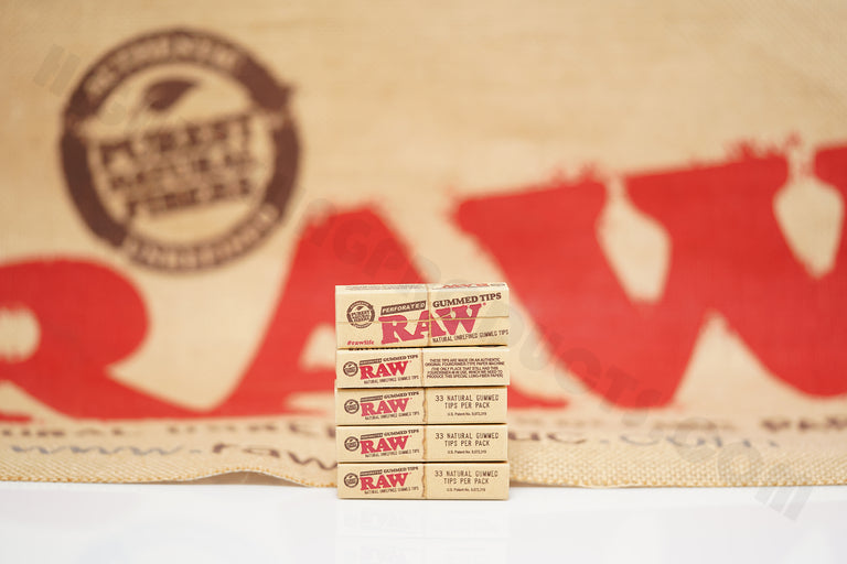 5 Packs(33 Tips Per Pack) Of Raw Rolling Paper Gummed-Perforated Tips