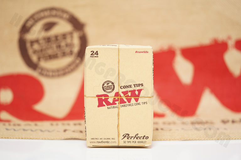 Full Box 24 Packs(32 Tips Per Pack) Of Raw Rolling Paper Perfecto Cone Tips