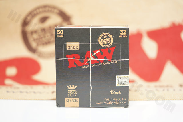 1x Full Box 50 Packs(32 in Each Pack) AUTHENTIC Raw Black King Size Rolling Paper