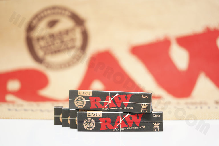 5 Packs(32 Leaves In Each Pack) AUTHENTIC Raw Black King Size Rolling Paper
