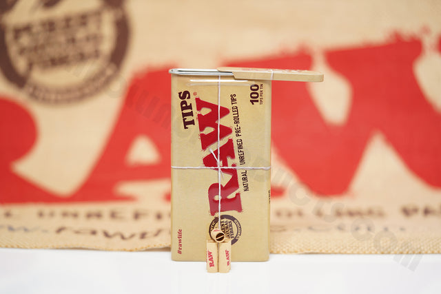 1x Tin(100 Tips Per Tin) Of Authentic Raw Rolling Paper Pre-Rolled Tips In A Tin