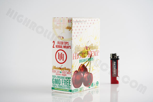 FULL BOX(25 pouches, 2 wraps in each) High Hemp Cherry With Patriot Disposable Lighter!