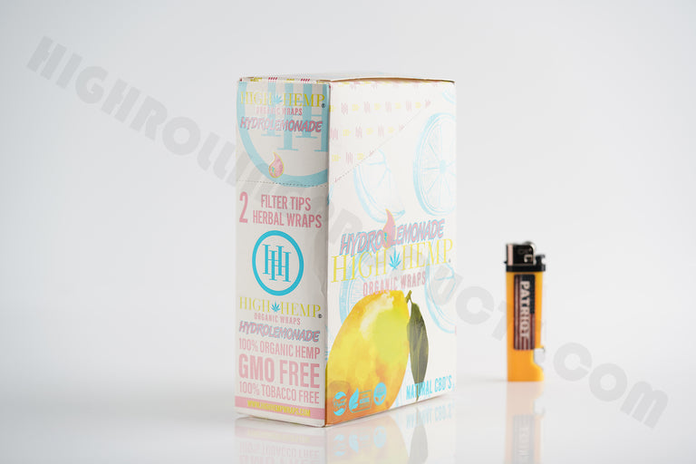 FULL BOX(25 pouches, 2 wraps in each) High Hemp Hydro Lemonade With Patriot Disposable Lighter!