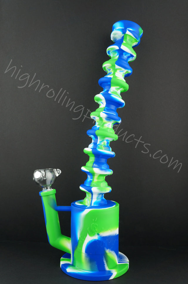 "High Quality Silicone Hookah Bubbler Extendable 9 - 16.5"" Tobacco Pipe"
