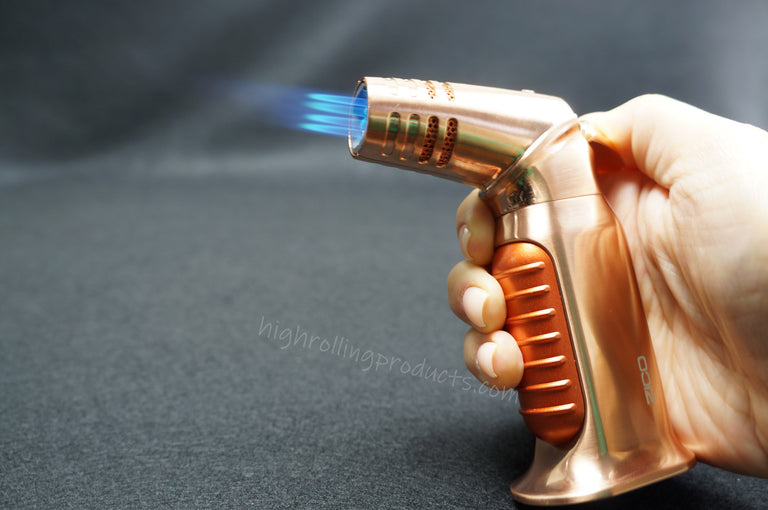 Zico ZD-54 Butane Refillable Adjustable Quad Flame Torch Lighter (Gold-Brown color)