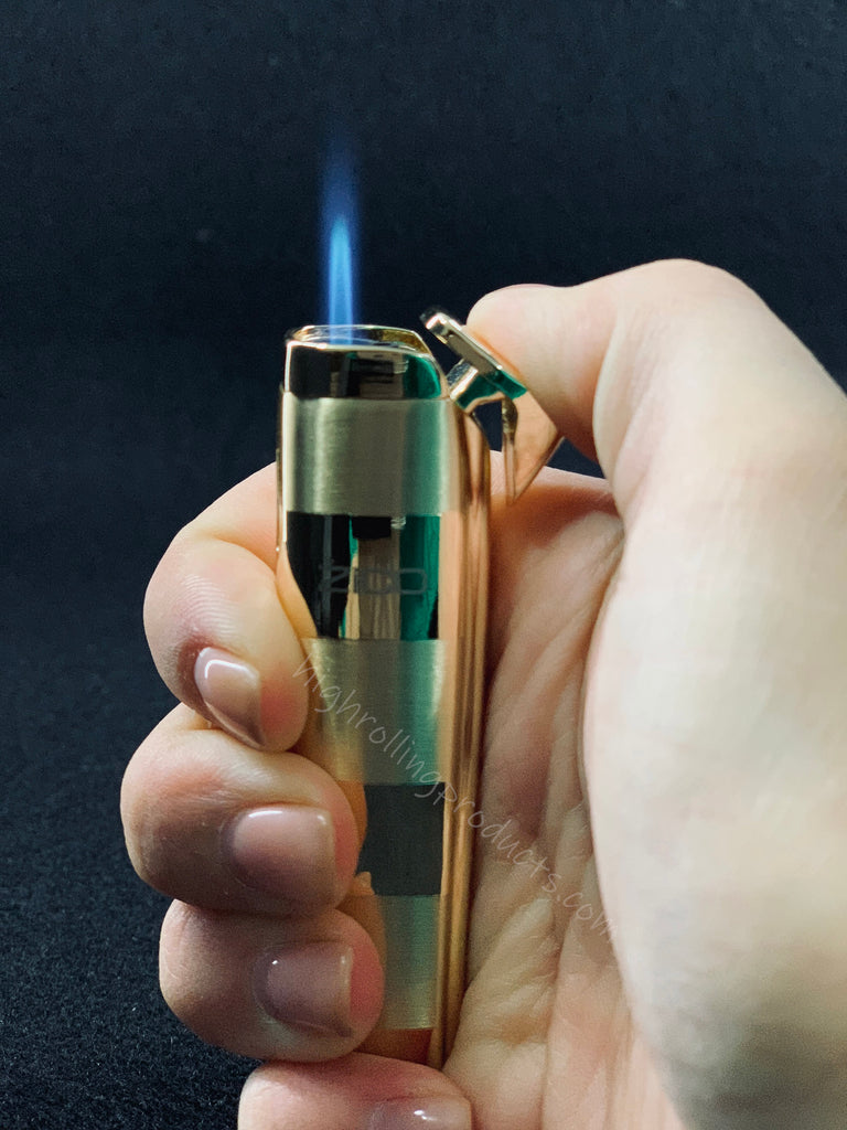 Zico ZD-19 Butane Refillable Adjustable Single Flame Torch Lighter (Gold color)