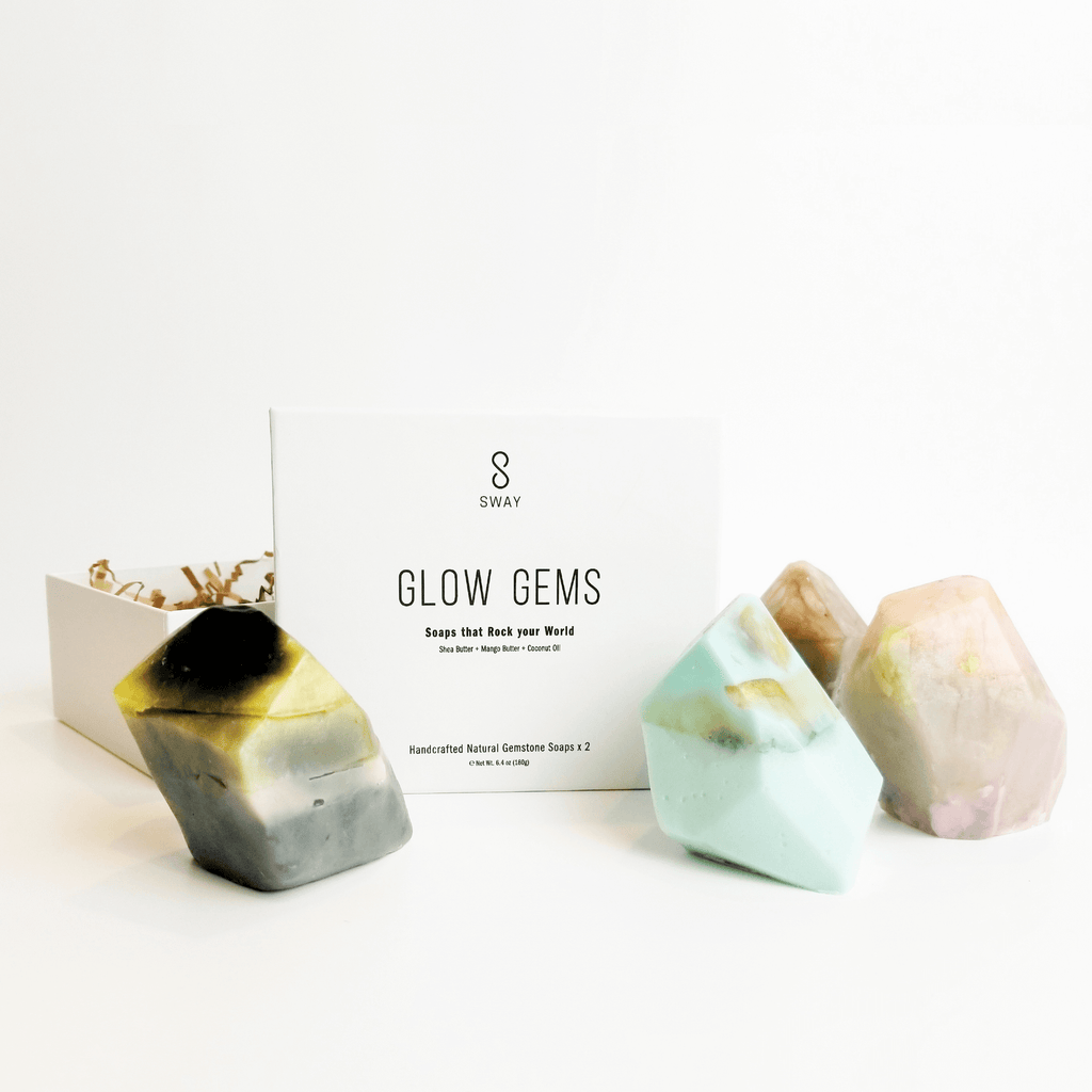 Glow Gems - Set of 2 handcrafted natural gemstone soaps