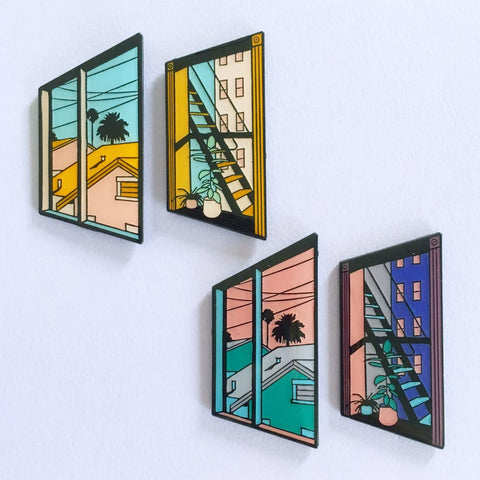 No Man's Press View Vaporwave Enamel Pins