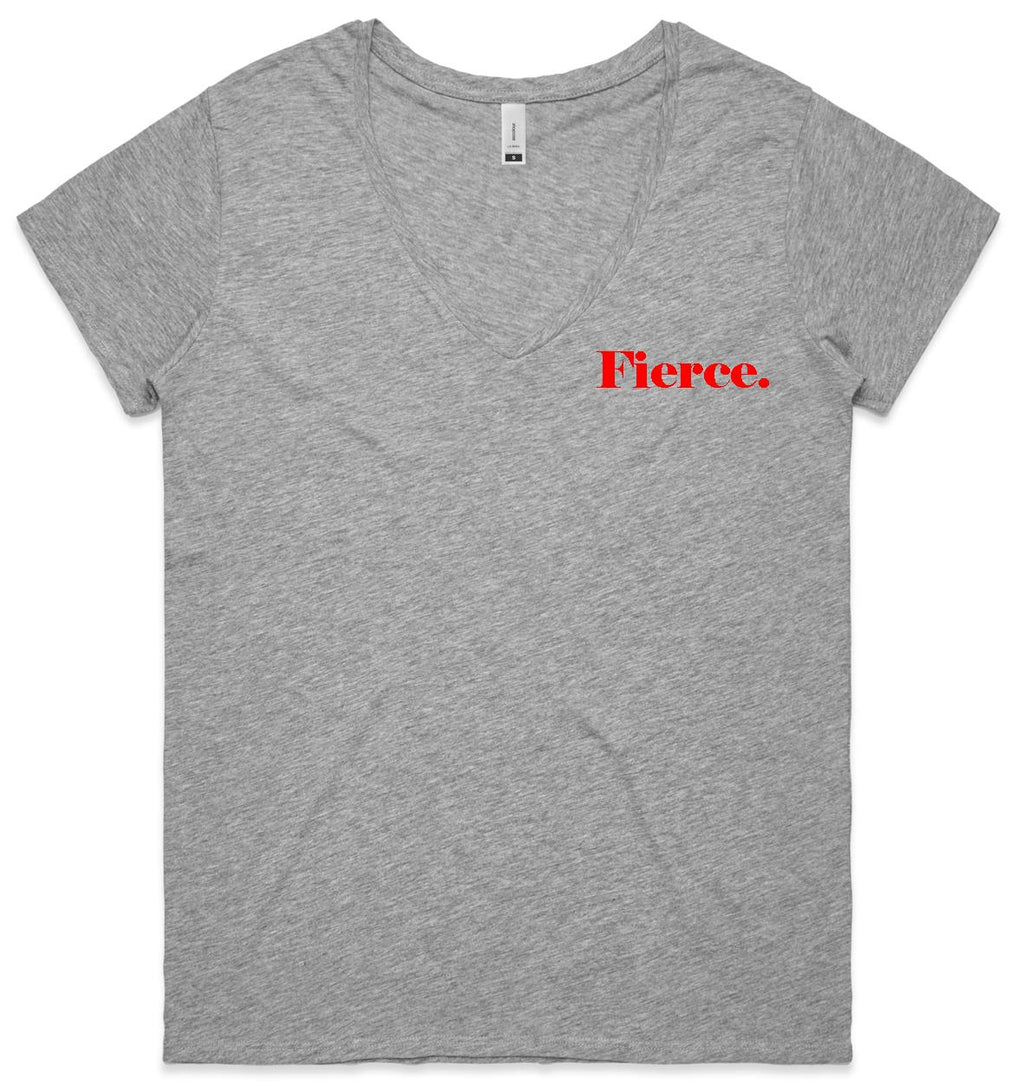 Fierce - Grey marle v-neck Tee