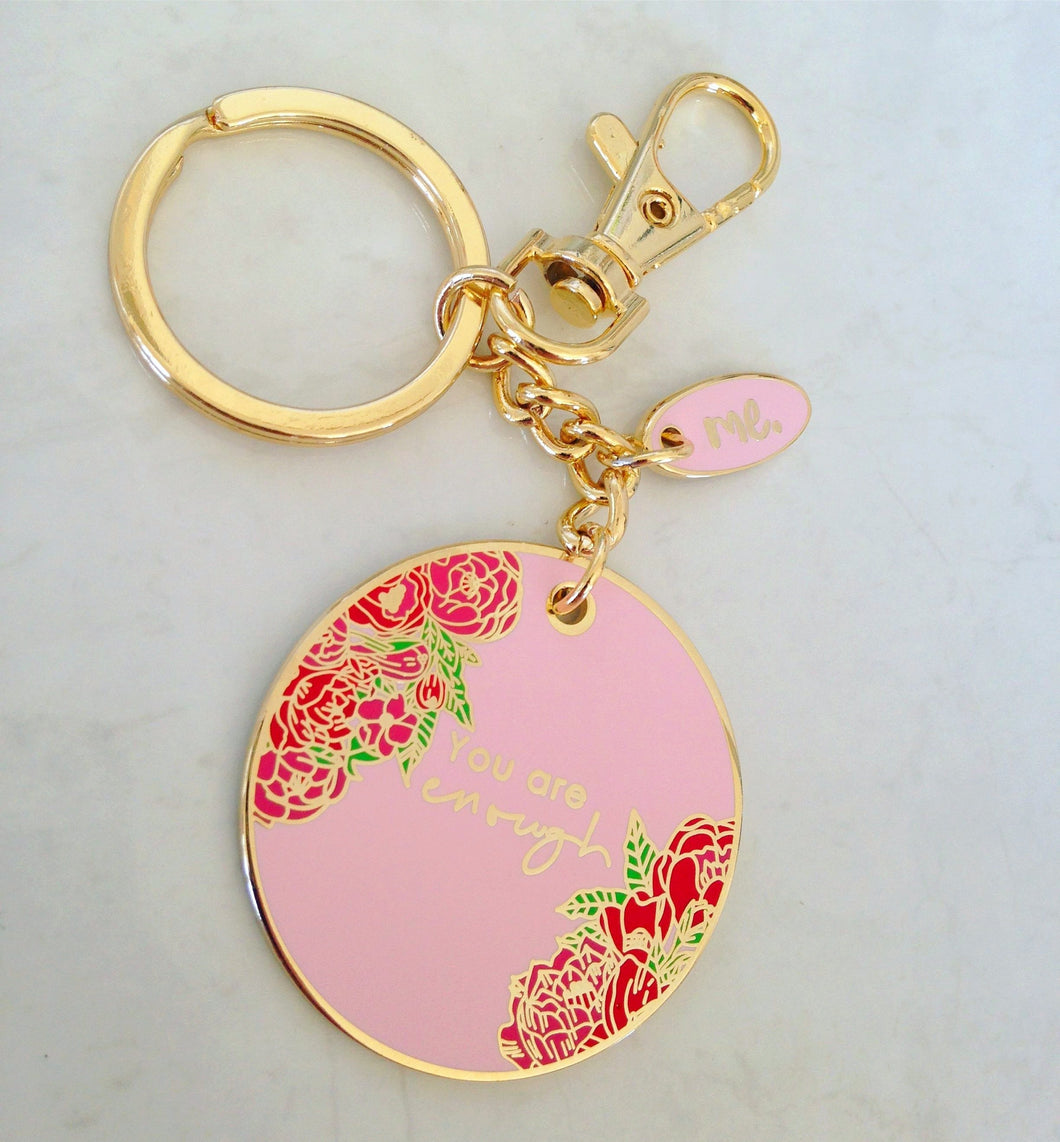 Key ring - You are enough - Pink & Gold