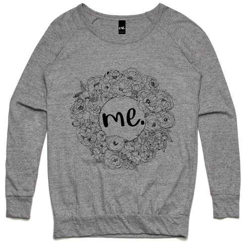 Floral Me Slouch Crew - Grey Marle