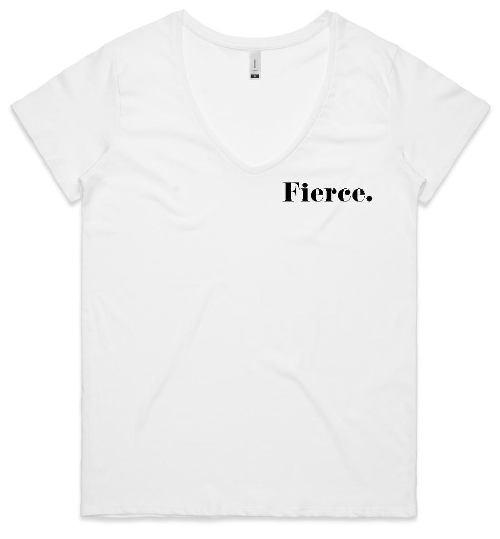 Fierce - White v-neck Tee