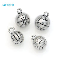 10pcs Tibetan Silver Plated 3D Football Basketball Volleyball Charms Pendants for Jewelry Making DIY