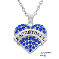 Volleyball Crystal Heart Pendant Necklace