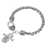 Crystal I Love Volleyball Sports Charm Lobster Clasp Bracelet