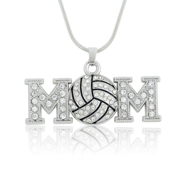 Metal Crystal Stone Volleyball Mom Pendant Necklace