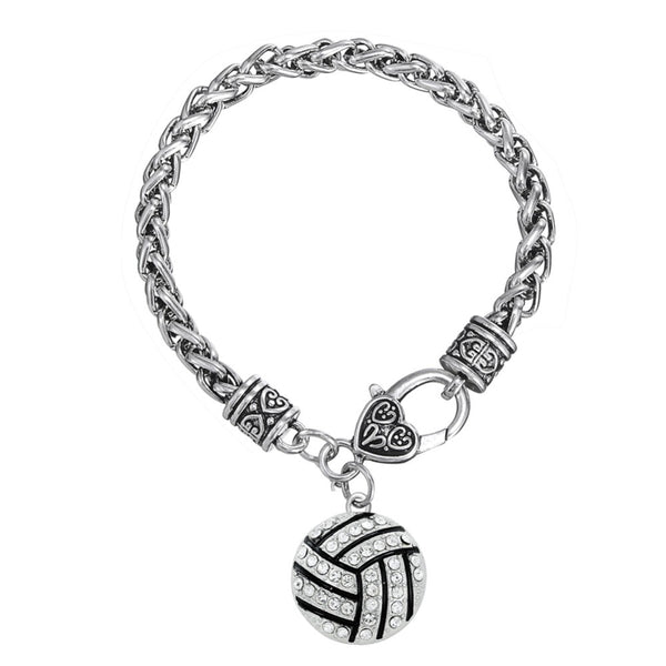 Skyrim I Love Volleyball Volleyball MOM charm bracelet rhodium plated with clear rhinestones jewelry Unisex Round charm bracelet