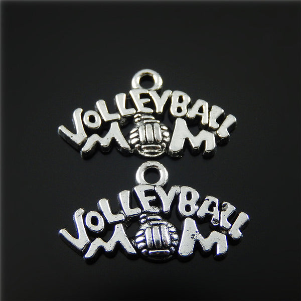 (20pieces) Antique Silver VOLLEYBALL Letter Necklace Pendant Alloy Bracelet Charms