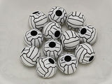 100 Black and White Acrylic Sports Volleyball Pattern Round Beads 12mm Jewelry
