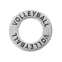 Antique SIlver Plated Volleyball CIrcle Charms - 10pcs