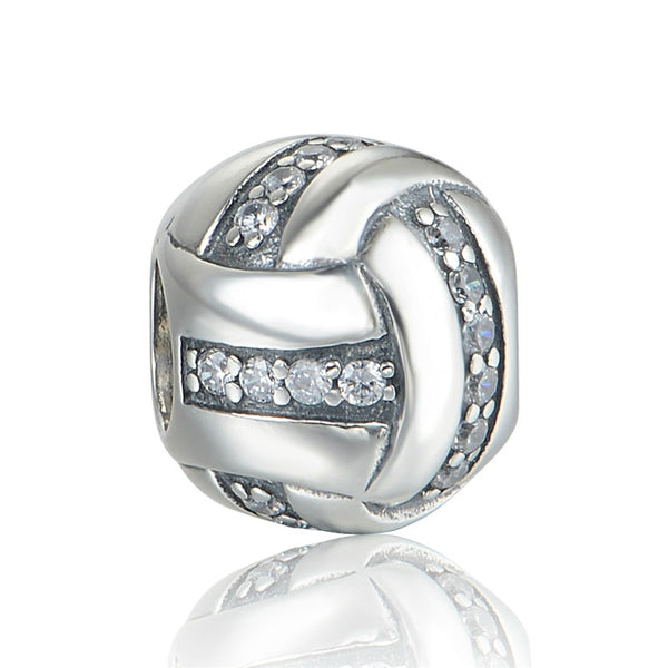 Volleyball With CZ Bead 100% Sterling Silver Jewelry Bead