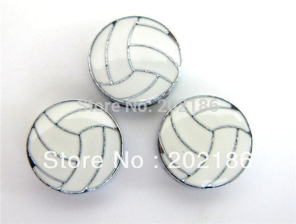 100pcs 8mm volleyball slide charms - fit 8mm wristband/belt/pet collar