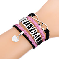 Skyrim VOLLEYBALL Beads Letters Charm Bracelet infinity & heart jewelry