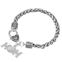 Volleyball Mom Crystal Charm Lobster Claw Bracelet