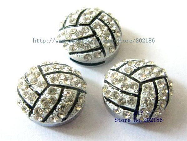 10pcs 8mm Bling Volleyball Slider Charms