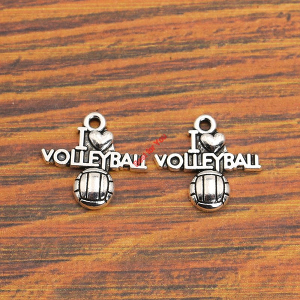 10pcs - I Love Volleyball Charm Pendant Jewelry - DIY Making Accessories 21x19mm