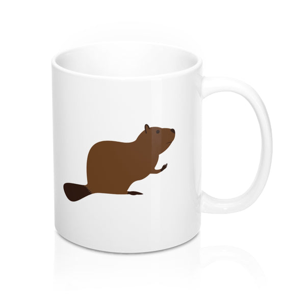 EAT MORE BEAVER WHITE COFFEE MUG
