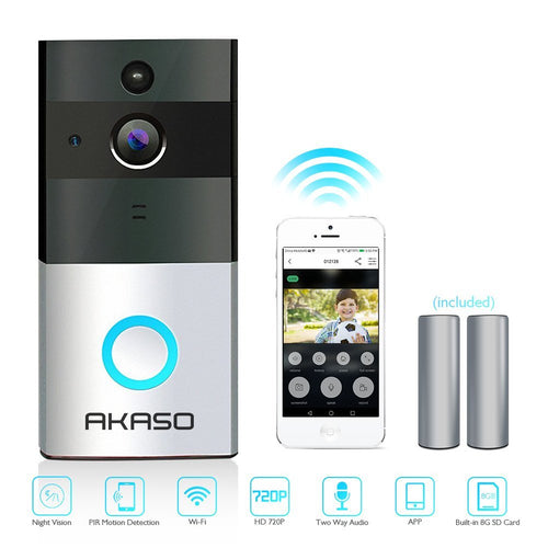 AKASO Video Doorbell, Smart Doorbell 720P HD Wifi Security Camera with App Control for iOS and Android