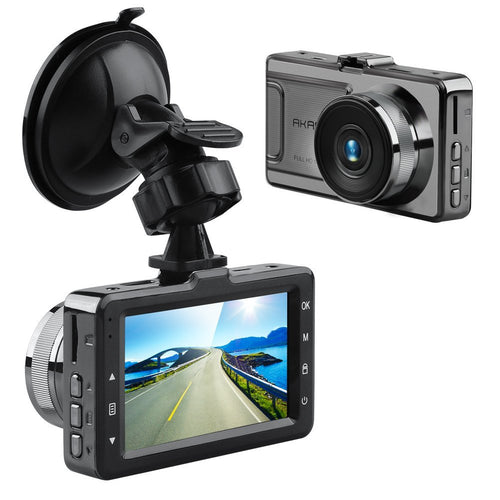 AKASO D2000 Car Dash Cam 3 Inch LCD 1080P Camera Recorder with G-Sensor Loop Recording