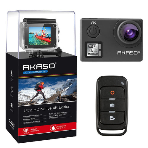 AKASO V50 Native 4K/30fps 20MP WiFi Action Camera with EIS,  170 Degree Wide Angle 30m Waterproof Underwater Camera Kit