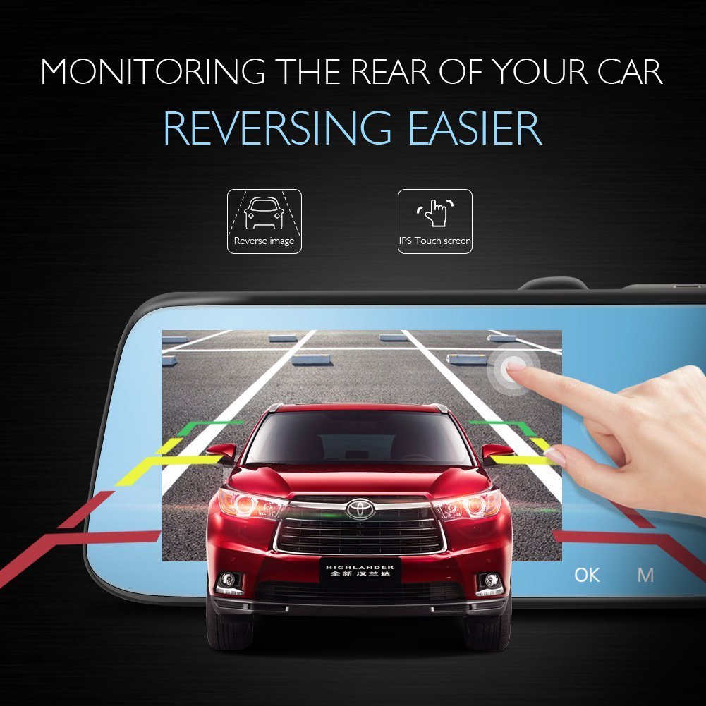 AKASO Dash Cam Backup Camera 1080P 5 Inch IPS Touch Screen Car Camera 170 Degree Super Wide Angle with G-Sensor