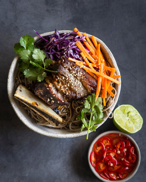 Ben and Reagan's beef ribs with pickled carrots and noodles
