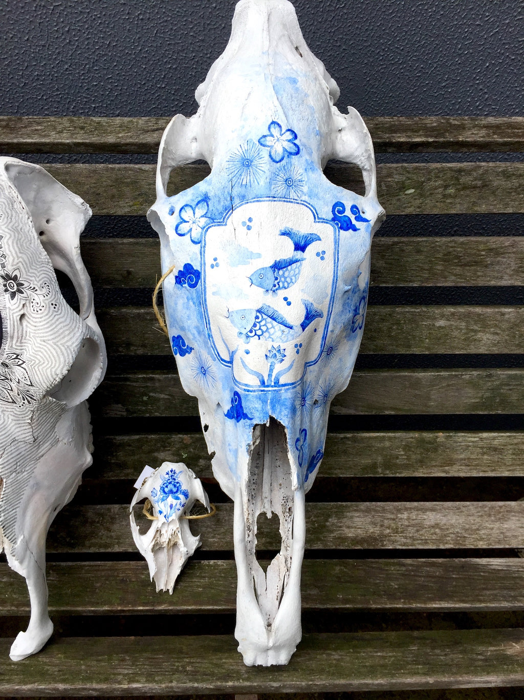 Hand painted horse skull