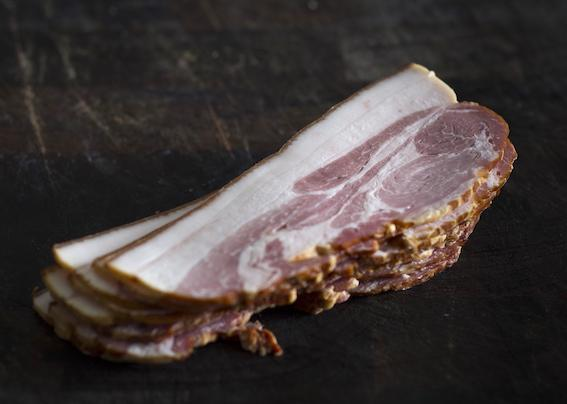 Pastured NSW pork bacon: loin, HOT SMOKED