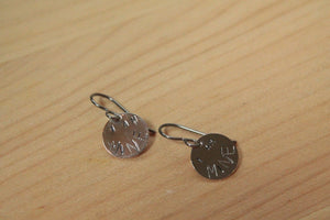 I AM MINE Personalized Song Lyric Stamped Titanium / Niobium / Surgical Steel Earrings - Pretty Sensitive Ears
