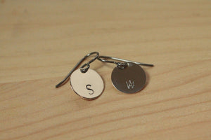 Personalized Letter Stamped Titanium / Niobium / Surgical Steel Earrings - Pretty Sensitive Ears