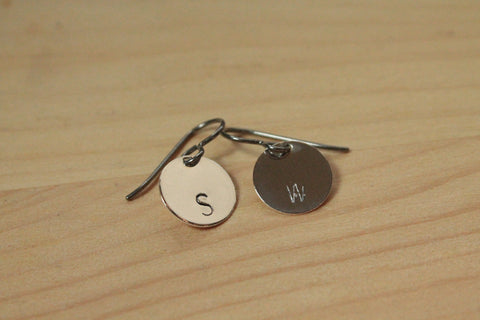Personalized Letter Stamped Titanium / Niobium / Surgical Steel Earrings