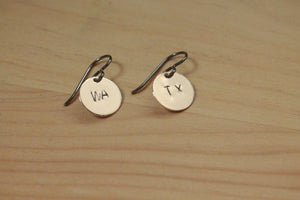 Personalized State Love Stamped Titanium / Niobium / Surgical Steel Earrings