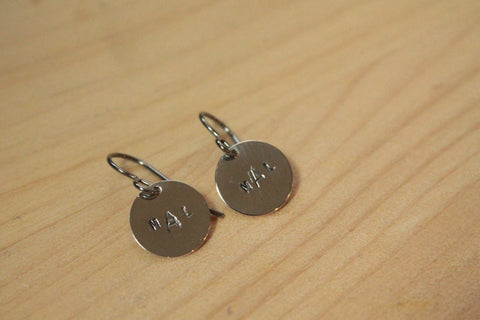 Personalized Monogram Stamped Titanium / Niobium / Surgical Steel Earrings - Pretty Sensitive Ears