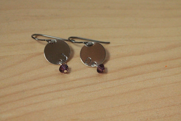 Personalized Letter Stamped with Birthstone Dangle - Titanium / Niobium / Surgical Steel Earrings - Pretty Sensitive Ears